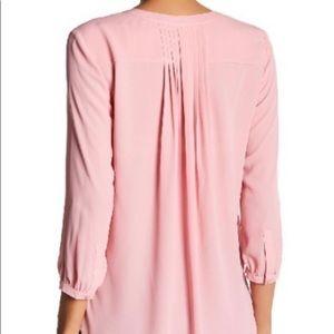 NYDJ 3/4 Sleeve Pleatback Pink Blouse